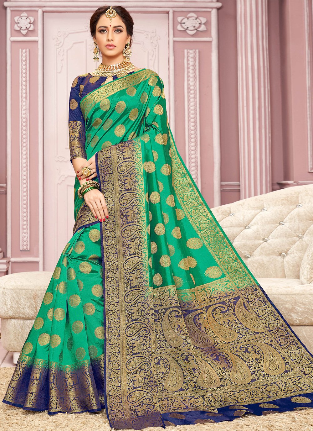 Crepe Silk Green Weaving Contemporary Saree