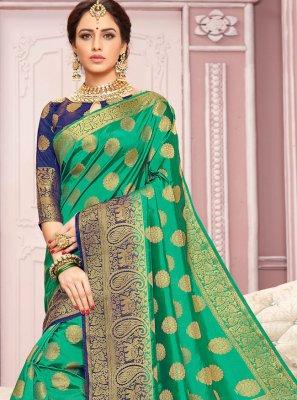 Crepe Silk Green Weaving Contemporary Saree