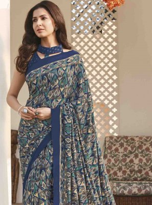 Crepe Silk Multi Colour Printed Saree