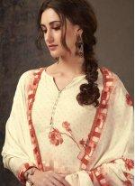 Crepe Silk Off White and Orange Digital Print Salwar Suit