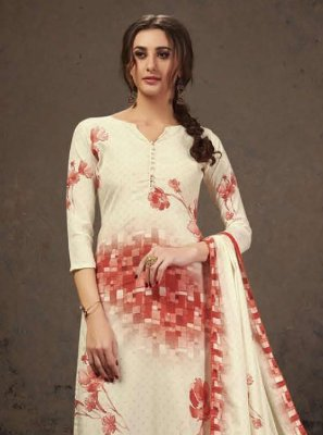 Crepe Silk Off White and Orange Digital Print Salwar Suit
