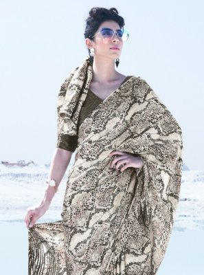 Crepe Silk Printed Classic Saree in Multi Colour