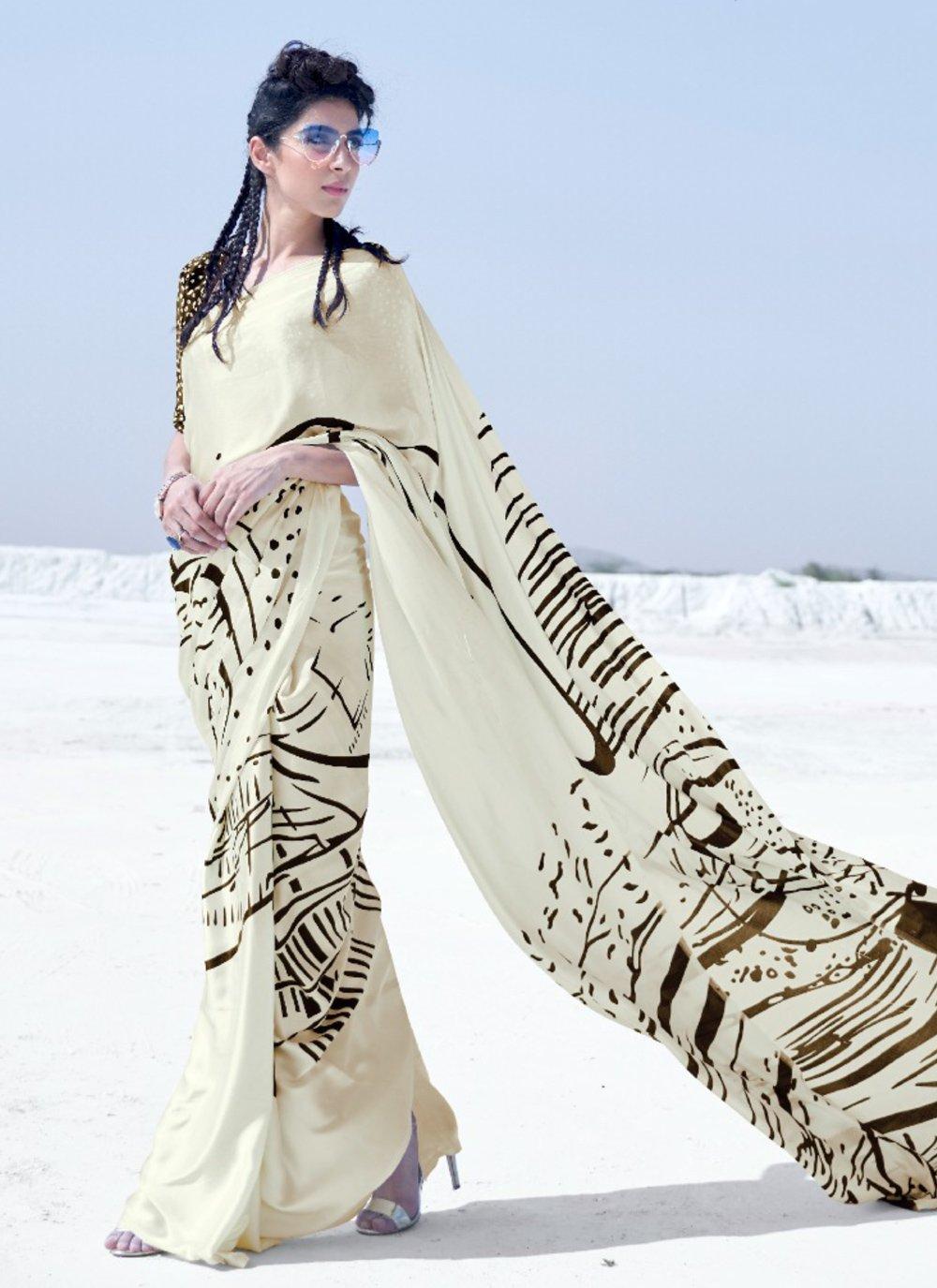 Crepe Silk Printed Multi Colour Classic Saree