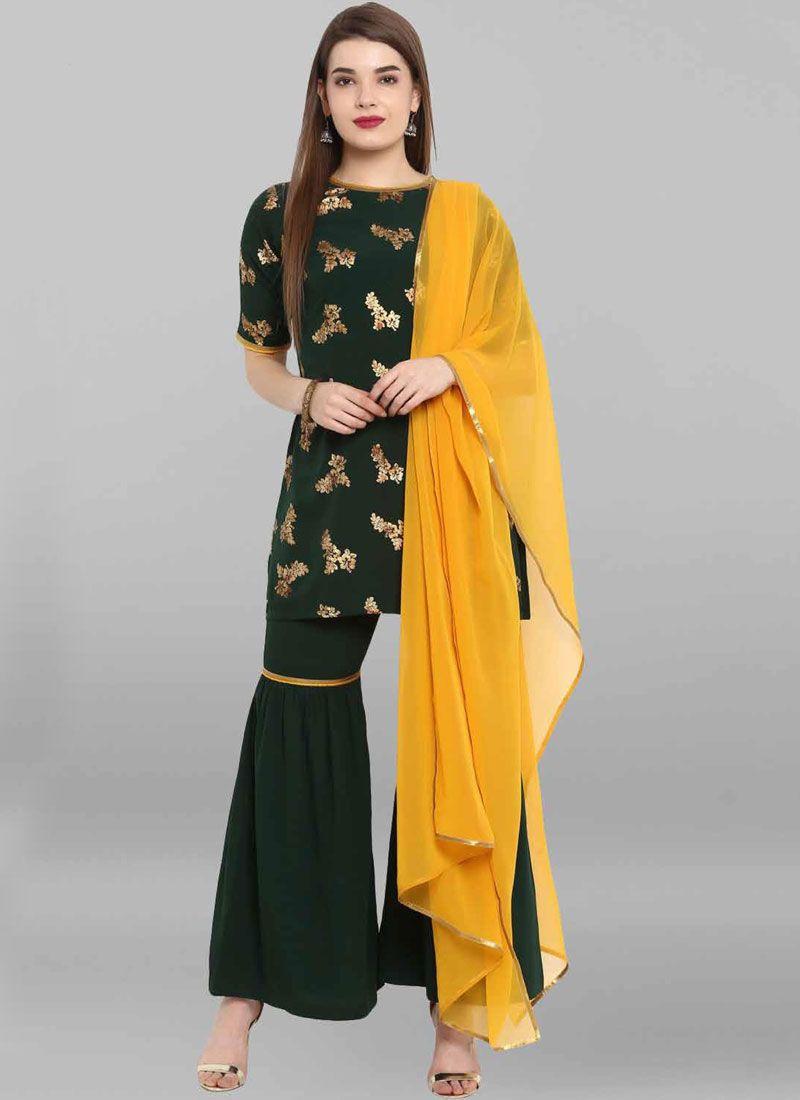 Crepe Silk Salwar Suit in Green