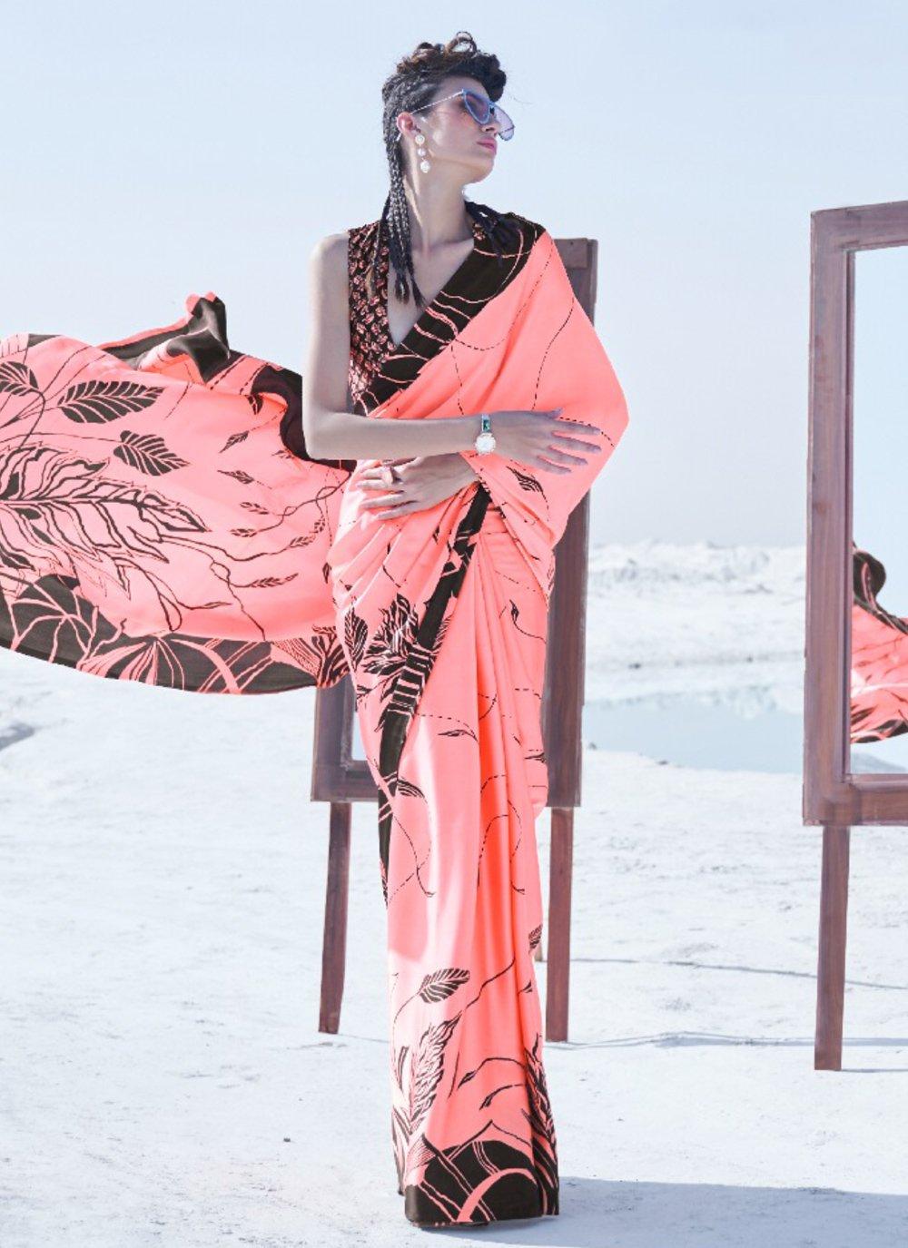 Crepe Silk Trendy Saree in Peach
