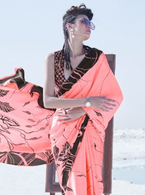 Crepe Silk Trendy Saree in Peach