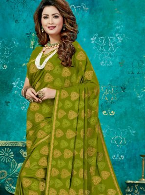 Crepe Silk Weaving Designer Traditional Saree in Green