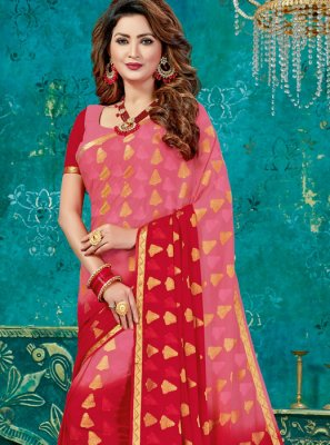 Crepe Silk Weaving Pink and Red Designer Traditional Saree