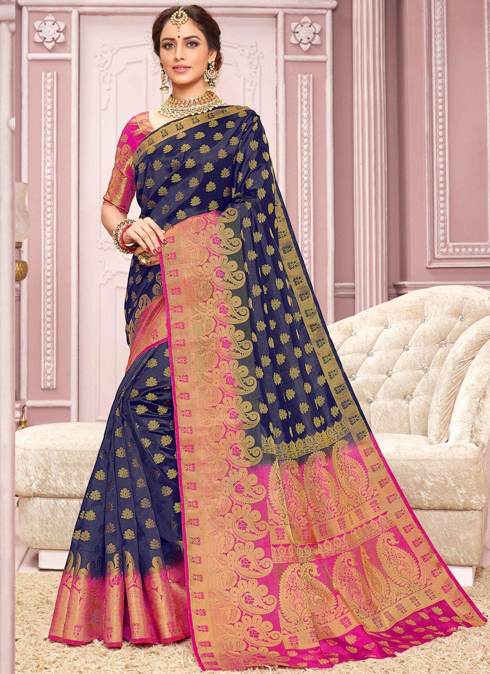 Crepe Silk Weaving Trendy Saree in Navy Blue