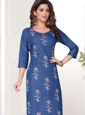 Denim Embroidered Blue Churidar Designer Suit
