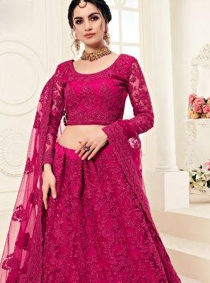 Designer A Line Lehenga Choli Embroidered Net in Hot Pink