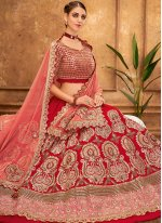 Designer A Line Lehenga Choli Embroidered Silk in Red
