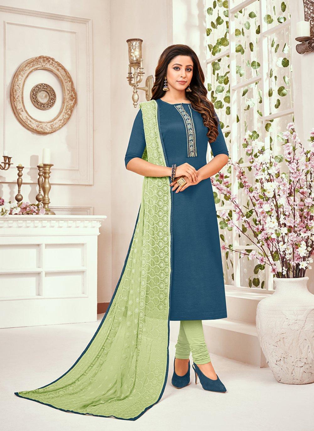 Designer Art Silk Salwar Kameez in Blue