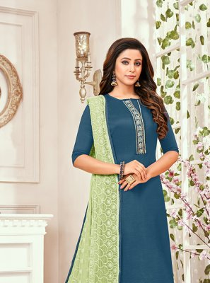 Designer Art Silk Salwar Kameez in Green