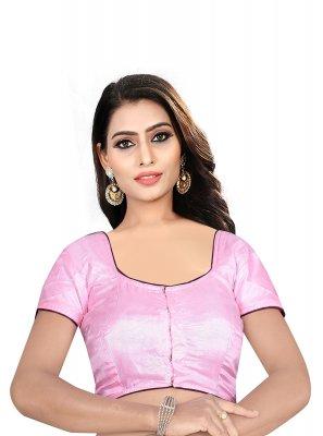 Designer Blouse Plain Art Raw Silk in Pink