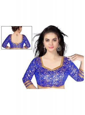 Designer Blouse Weaving Brocade in Blue