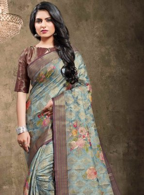 Designer Bollywood Saree Digital Print Georgette in Blue