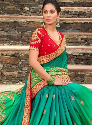 Designer Bollywood Saree Embroidered Georgette in Green