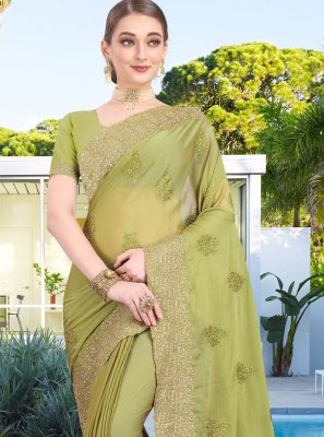 Designer Bollywood Saree Zari Faux Chiffon in Green