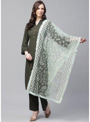 Designer Dupatta Embroidered Net in Green
