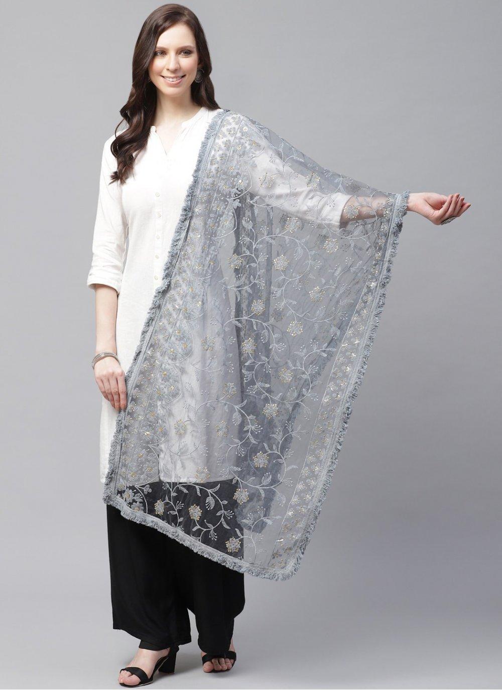 Designer Dupatta Embroidered Net in Grey