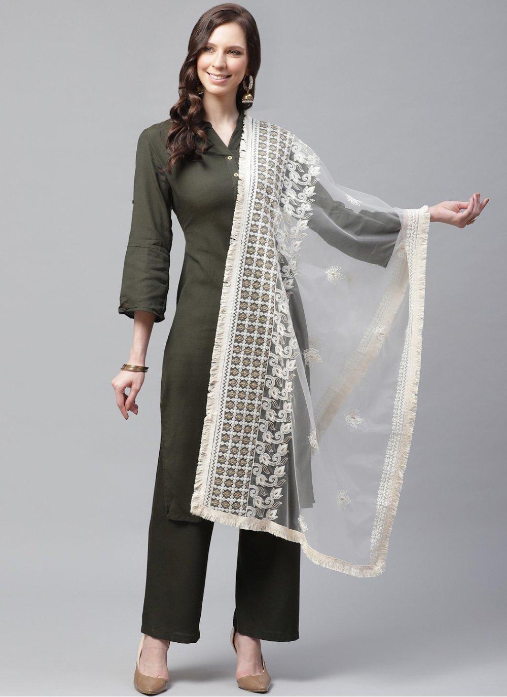 Designer Dupatta Embroidered Net in Off White