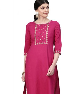 Designer Kurti Embroidered Cotton in Pink