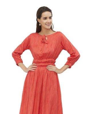 Designer Kurti Plain Rayon in Red