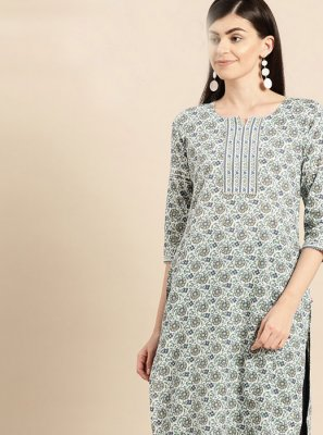 Designer Kurti Print Cotton in Multi Colour