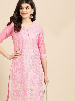 Designer Kurti Print Cotton in Pink