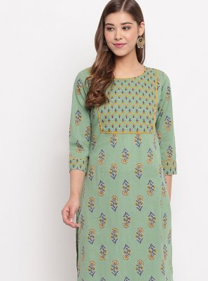 Designer Kurti Printed Cotton in Green