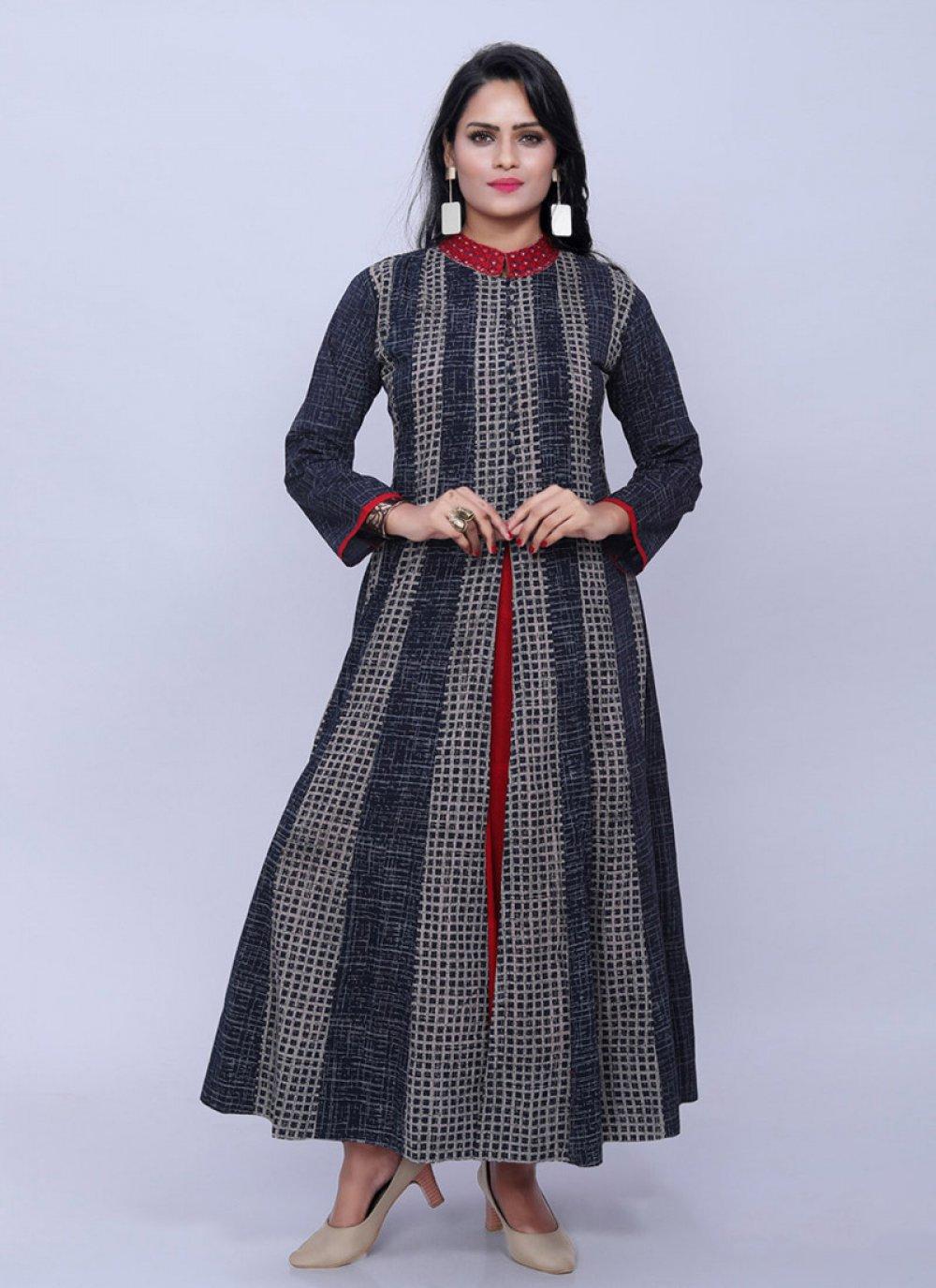Designer Kurti Printed Cotton in Multi Colour