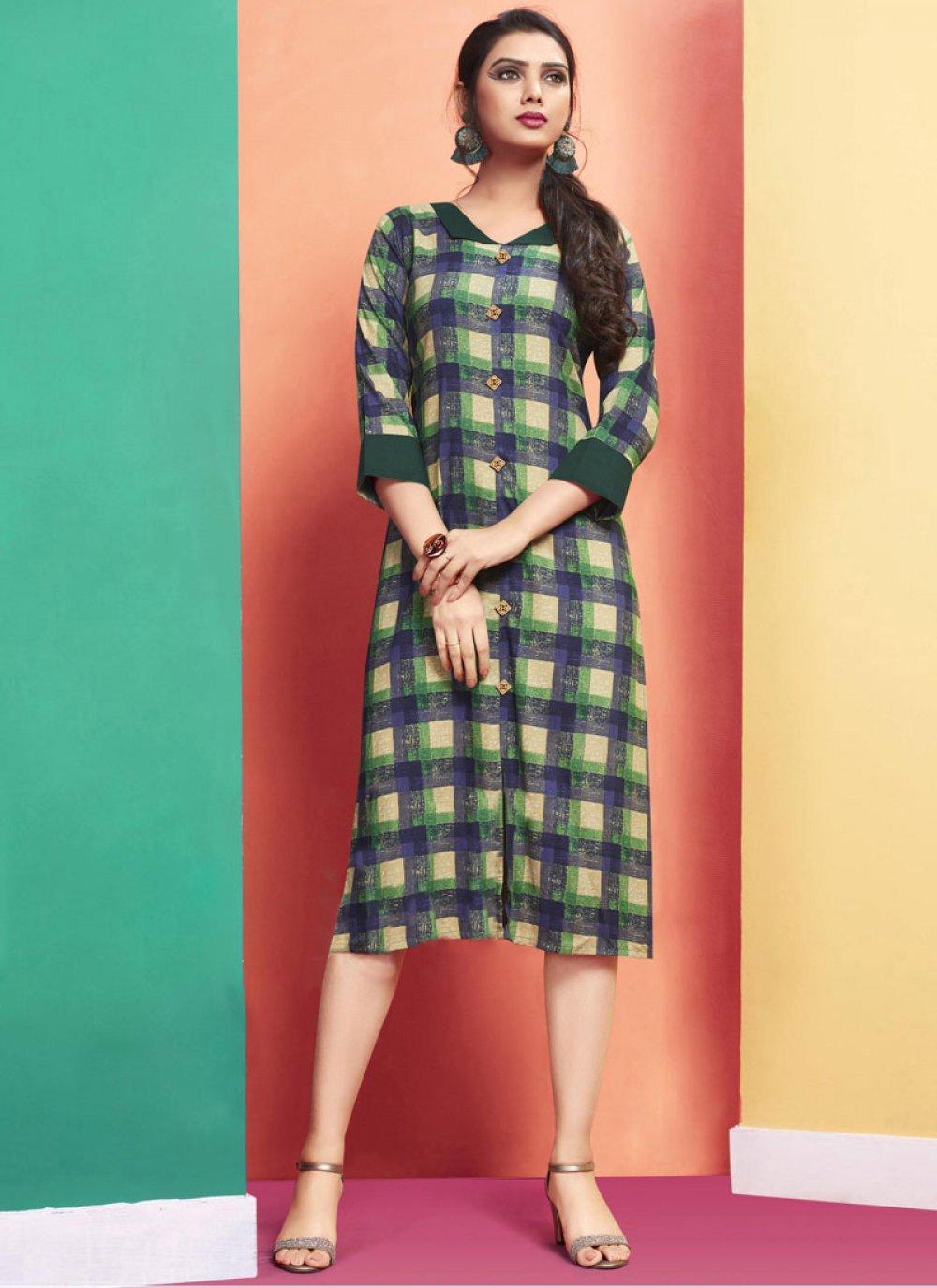 Designer Kurti Printed Rayon in Multi Colour