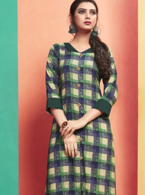 Designer Kurti Printed Rayon in Multi Colour