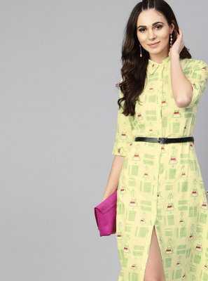 Designer Kurti Printed Viscose in Yellow