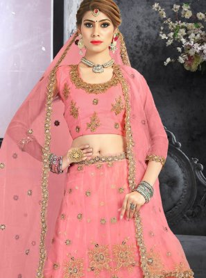 Designer Lehenga Choli Beads Net in Pink