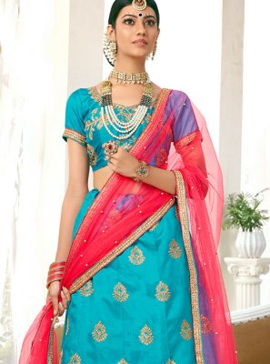 Designer Lehenga Choli Embroidered Art Silk in Blue
