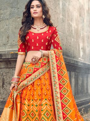 Designer Lehenga Choli Embroidered Art Silk in Orange