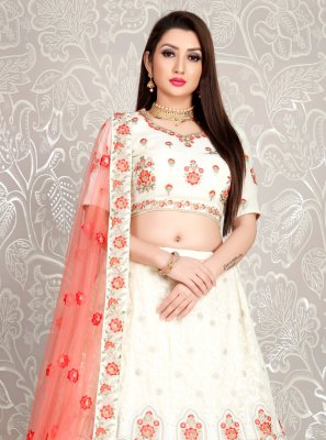 Designer Lehenga Choli Embroidered Georgette in White