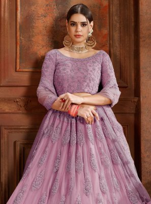 Designer Lehenga Choli Embroidered Net in Purple