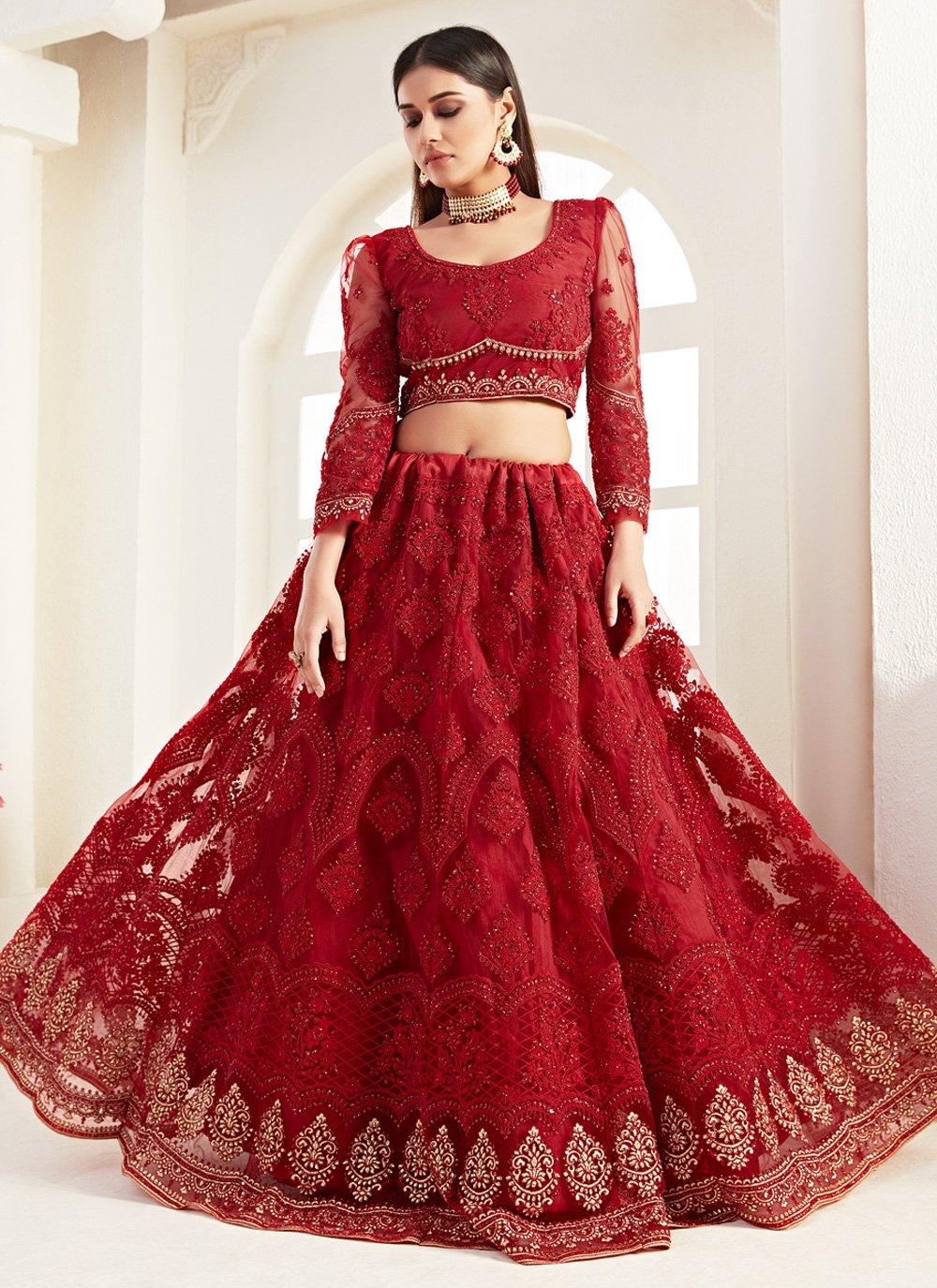 Designer Lehenga Choli Embroidered Net in Red