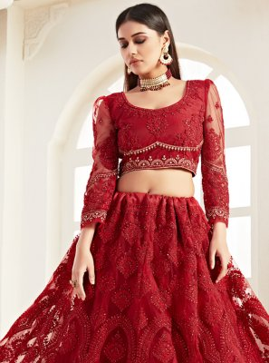 Designer Lehenga Choli Embroidered Net in Red