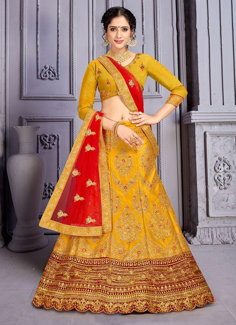 Designer Lehenga Choli Resham Satin Silk in Mustard