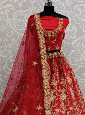 Designer Lehenga Choli Resham Satin Silk in Red