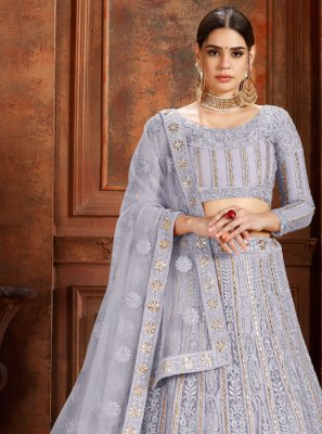 Designer Lehenga Choli Thread Net in Grey