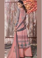 Designer Pakistani Suit Abstract Print Faux Crepe in Multi Colour