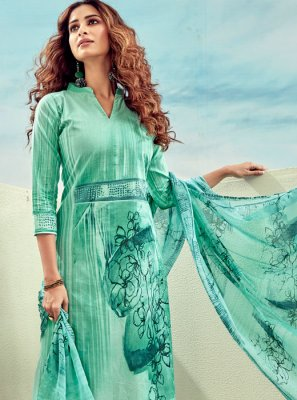 Designer Palazzo Salwar Kameez Digital Print Cotton in Blue