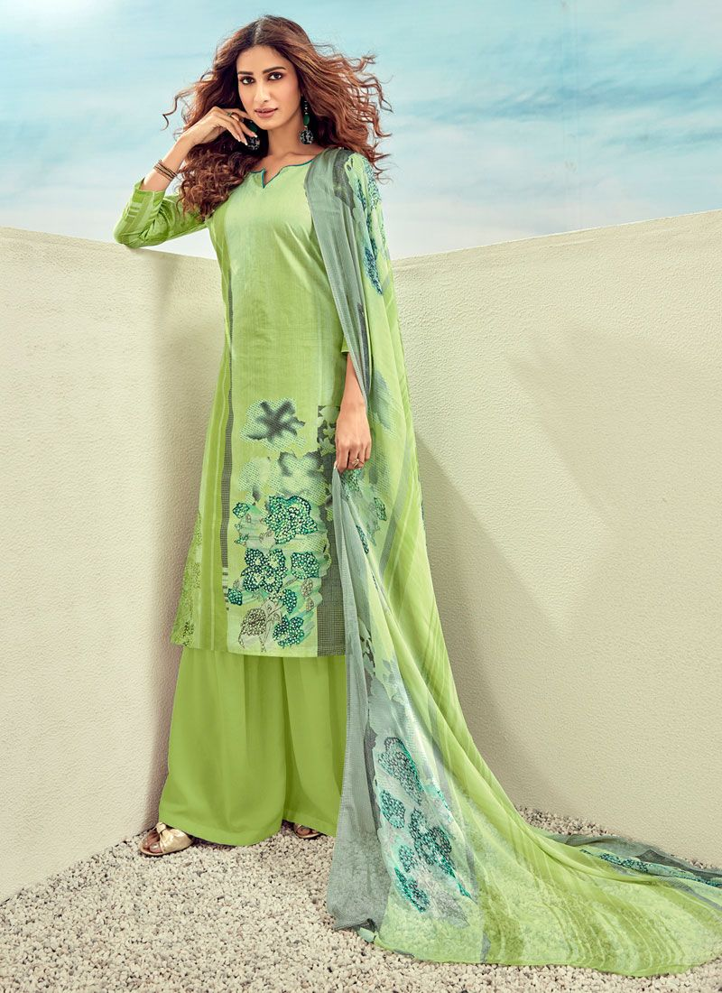 Designer Palazzo Salwar Kameez Digital Print Cotton in Green