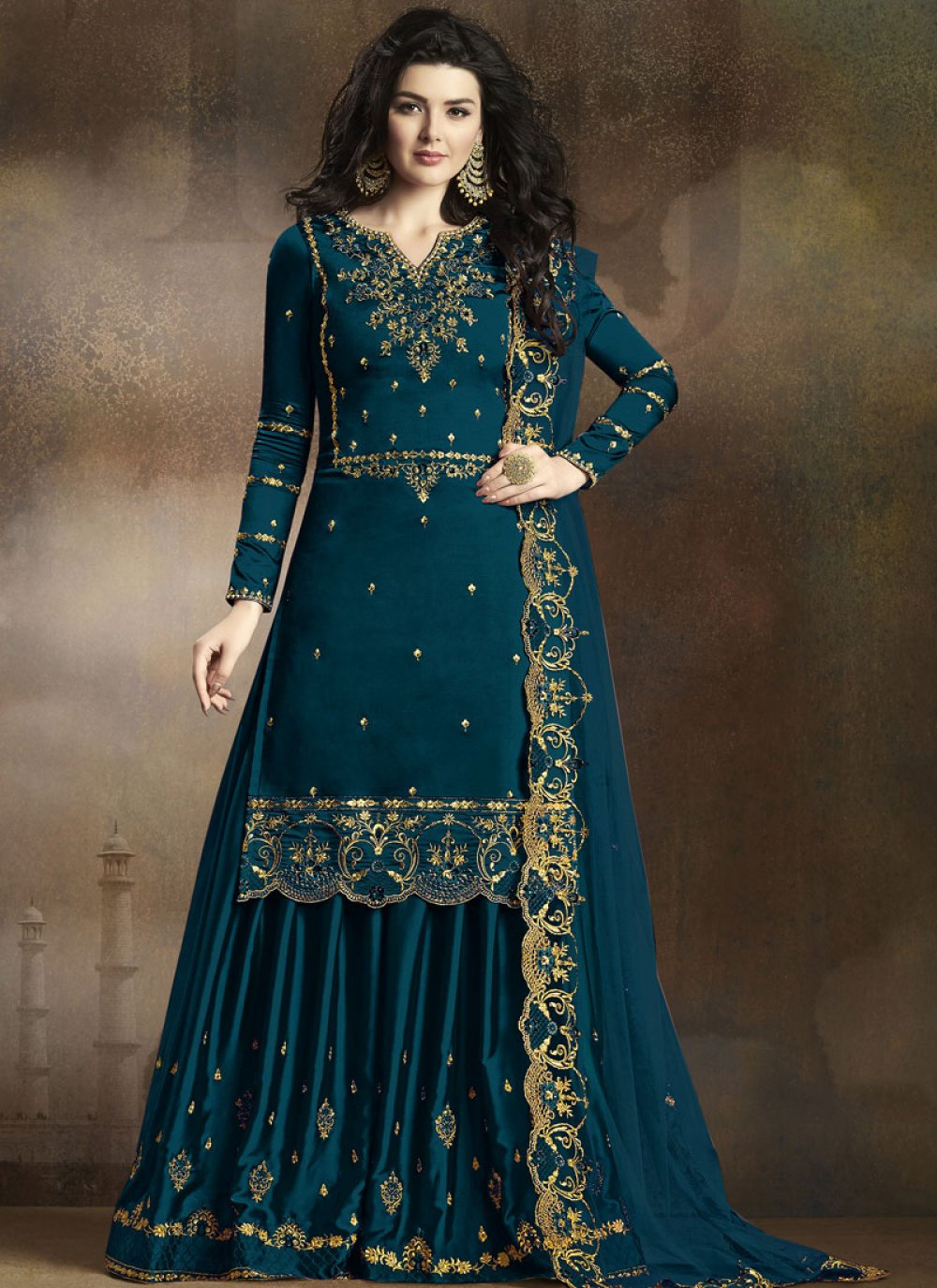 Designer Palazzo Salwar Kameez Embroidered Georgette in Blue