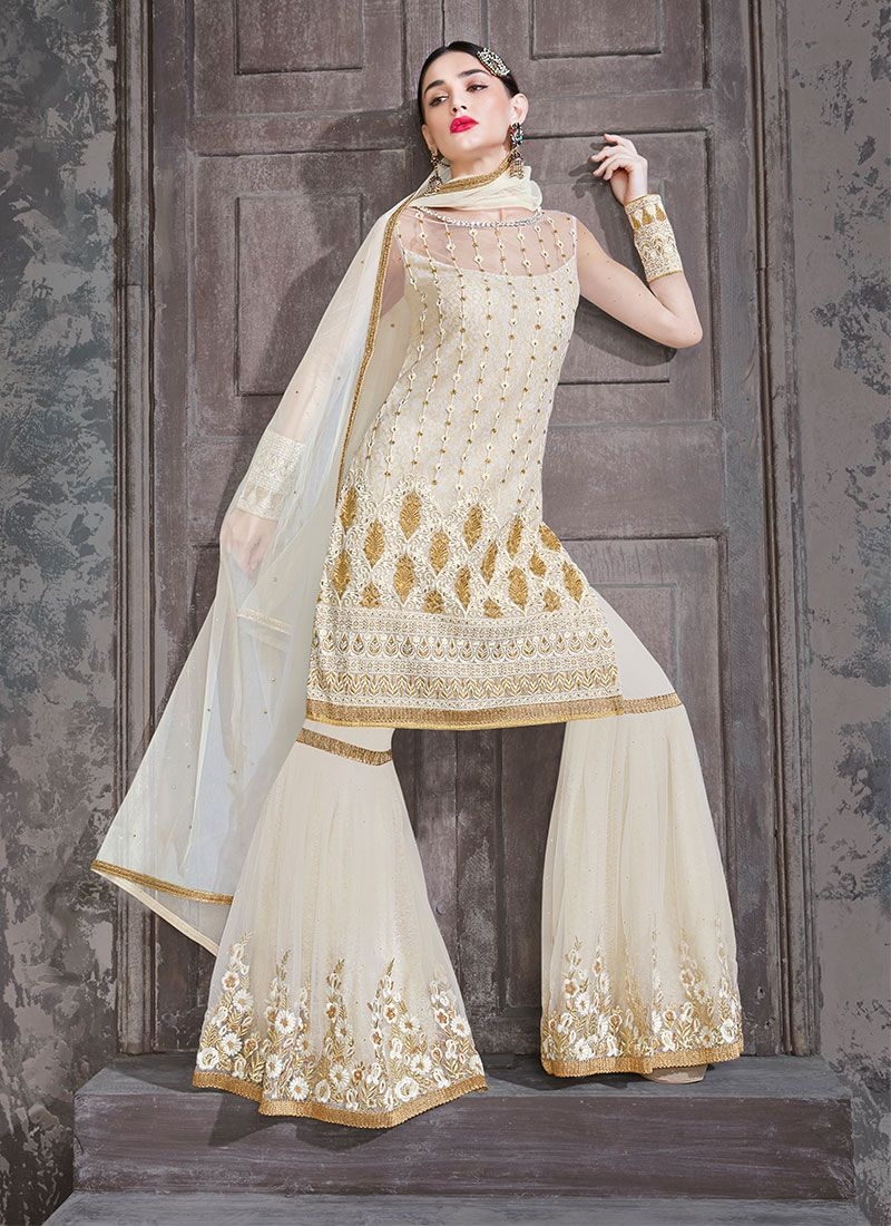 Designer Palazzo Salwar Kameez Embroidered Net in Off White